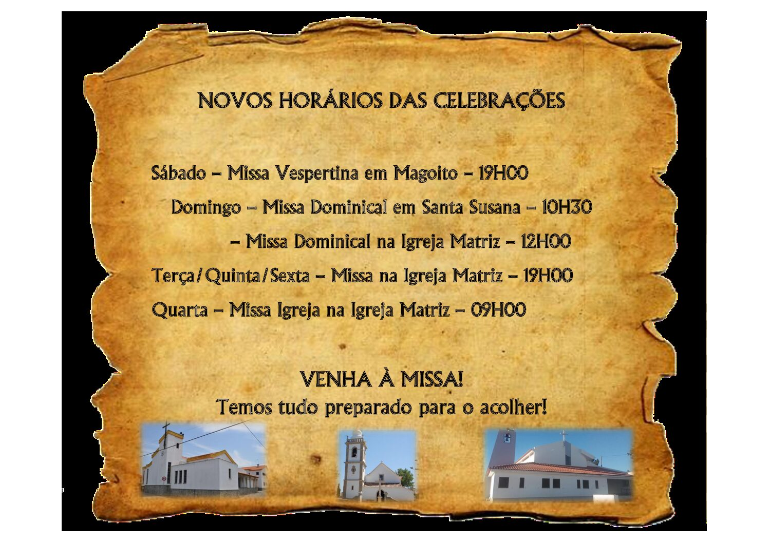Novos Horários das Celebrações